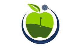 Apple Golf Ball. Logo Design Template Vector Royalty Free Stock Photo