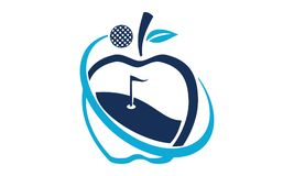 Apple Golf Ball. Logo Design Template Vector Stock Photo