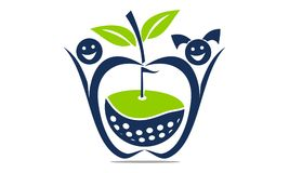 Apple Golf Ball. Logo Design Template Vector Royalty Free Stock Image