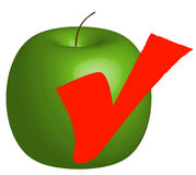 Apple goodness. Apple with check mark - healthy food choice - vector Royalty Free Stock Images