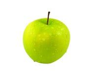 Apple - grön droppe med vit bakgrund fotografering för bildbyråer