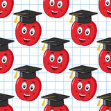 Apple Graduation Hat Seamless Pattern Stock Photo