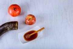 Apple, granada y miel, comida tradicional del Año Nuevo judío Rosh Hashana Copie el fondo del espacio Fotografía de archivo libre de regalías