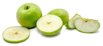 Apple Granny Smith. Group of sliced Granny Smith, one whole apple, circles and slices, isolated on white backgroundn Royalty Free Stock Photos