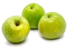 Apple Granny Smith. Group of three whole green apples Granny Smith isolated on white background n Royalty Free Stock Images