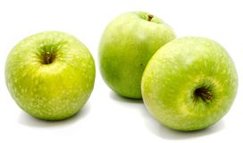 Apple Granny Smith. Group of three whole green apples Granny Smith isolated on white background n Royalty Free Stock Image