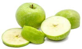 Apple Granny Smith. Sliced Granny Smith, one whole apple, circles and slices, isolated on white backgroundn Stock Image