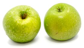 Apple Granny Smith. Two whole green apples Granny Smith isolated on white background Stock Photo