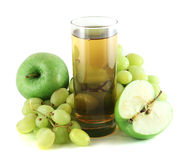 Apple and grape juice with apples and grapes. Isolated on white Stock Image
