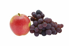Apple and grapes. On a white background Stock Photo