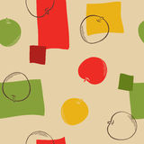 Apple graphic art green yellow red beige color seamless pattern illustration Royalty Free Stock Photo