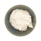 Apple Greek yogurt in a stoneware bowl Royalty Free Stock Images