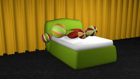 Apple green box spring on black carpet floor. In front of yellow curtains with softballs and pillows. 3d rendering vector illustration