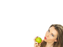 apple green holding woman young Στοκ εικόνες με δικαίωμα ελεύθερης χρήσης