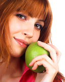 apple green holding woman young Στοκ Εικόνες