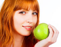 apple green holding woman young Στοκ φωτογραφίες με δικαίωμα ελεύθερης χρήσης