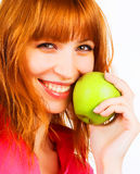 apple green holding woman young Στοκ φωτογραφία με δικαίωμα ελεύθερης χρήσης