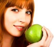 apple green holding woman young Στοκ Φωτογραφίες