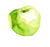 Apple. Green isolated hand drawn watercolored apple vector illustration