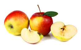 Apple with a green leaf Stock Images