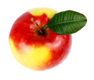 Apple with a green leaf Stock Image