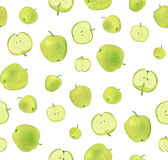 Apple green pattern. Seamless pattern of watercolor apple on a white background Royalty Free Stock Photos