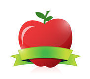 Apple and green ribbon illustration design. Over a white background Royalty Free Stock Image