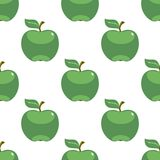 Apple green white seamless pattern background. Vector illustration Stock Images