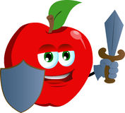 Apple guard with shield and sword Stock Photography