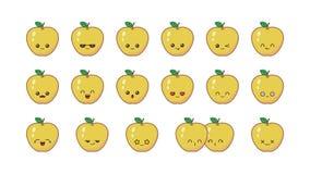 Apple gullig kawaiimaskot Fastst?llda kawaiimatframsidor stock illustrationer