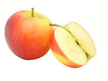 Apple and half of apple royalty free stock photo