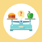 Apple and hamburger on scales. Diet. Healthy food. Vector flat illustration Royalty Free Stock Images