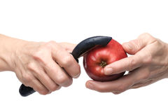 Apple in hand Stock Image