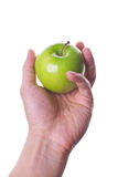 Apple in hand Stock Photo