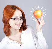 Apple in hand. Royalty Free Stock Photo