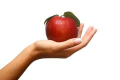 Apple an Hand stockfotos