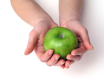 Apple in hand. S on white background stock images