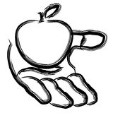 Apple in the hand. Illustration Royalty Free Stock Image
