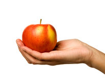 Apple in Hand royalty free stock photo