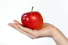 Apple in a hand royalty free stock photo
