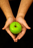 apple hand holding Στοκ Φωτογραφίες