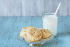 Apple Hand Pies On Antique Glass Plate With Milk Stock Photography