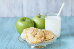 Apple Hand Pies With Glass Of Milk Stock Photos