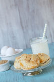 Apple Hand Pies With Milk and Eggs On Antique Plate Royalty Free Stock Images