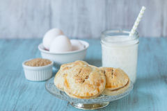 Apple Hand Pies With Milk and Eggs and Raw Sugar Stock Image
