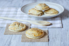 Apple Hand Pies With Wood Spoon Stock Photos