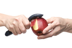 Apple on hand on white Stock Photography