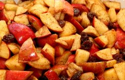 Apple Haroset for Passover. Haroset, a traditional Passover food made with apples, brown sugar and raisins Royalty Free Stock Photo