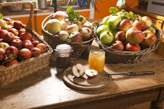 Apple harvest. Different varieties in baskets, arranged on a table, with honey and jam Stock Images