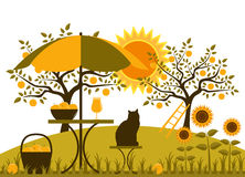 Apple harvest. Table with umbrella, basket of apples and sunflowers in garden Stock Images